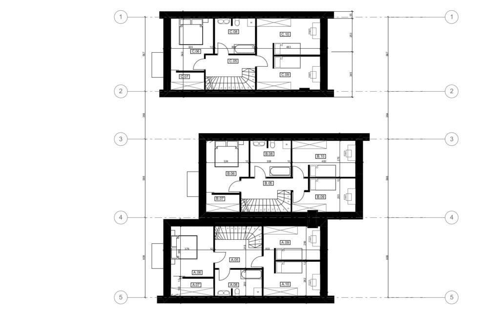 Vienbučio ir dvibučio namo antro aukšto planas.