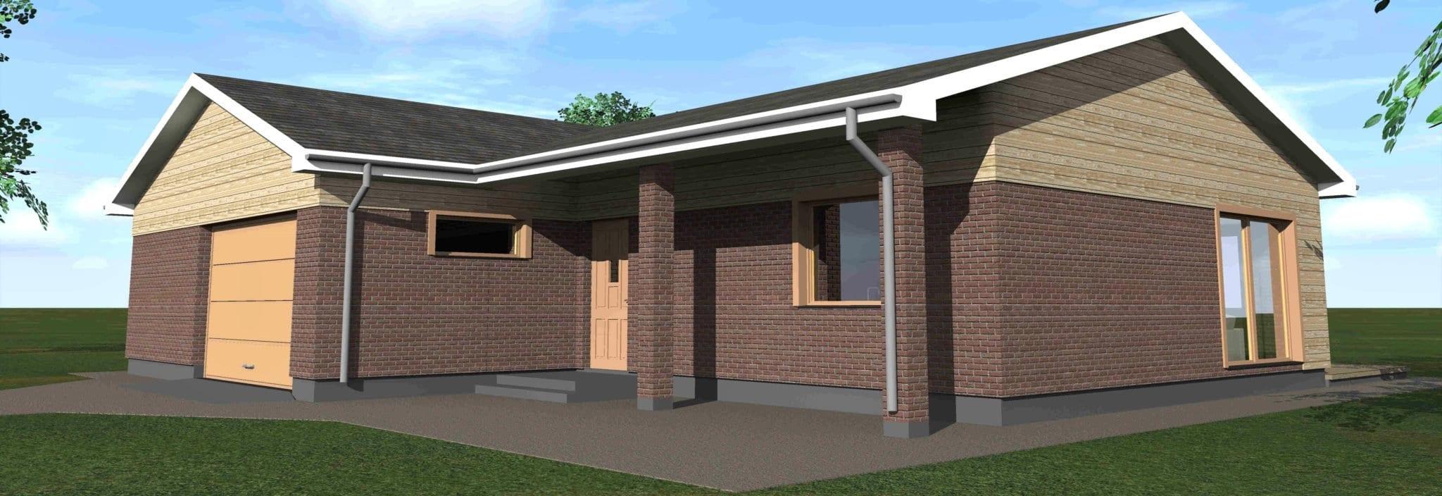 Vienbučio gyvenamojo namo projektas vizualacija