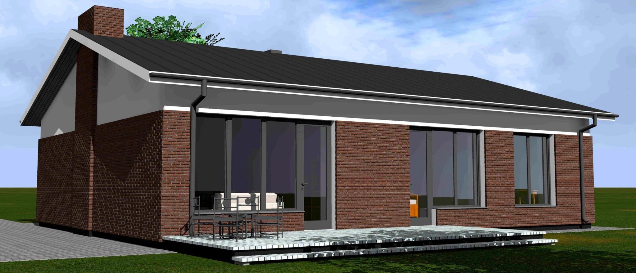 Vienbučio gyvenamojo namo projektas vizualizacija