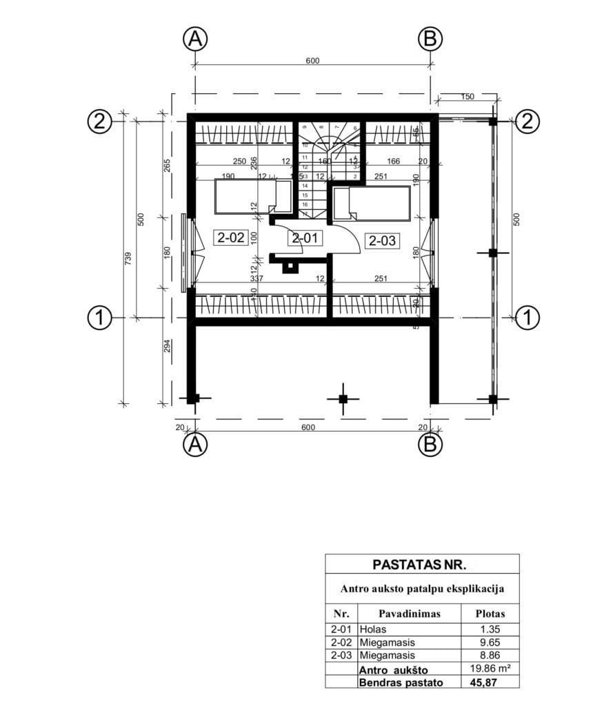 Supaprastintos pirties projekto antro aukšto planas.