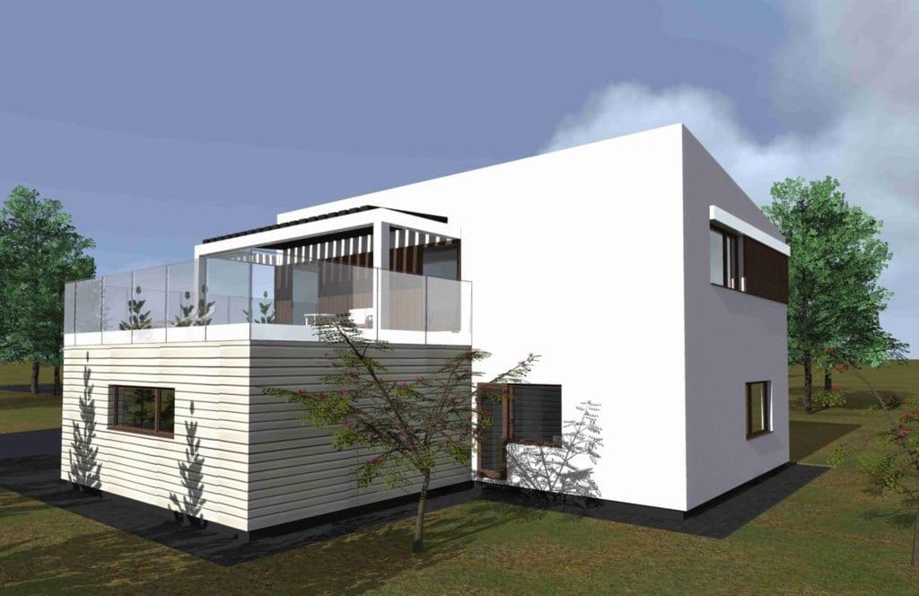 Modernnaus namo projektas. Dviejų aukštų.