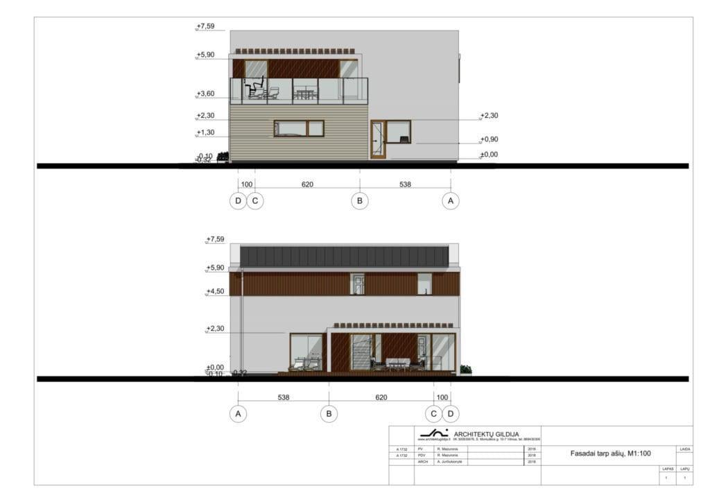Modernaus namo projekto fasadai.