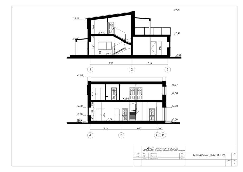 Modernaus namo projekto pjūviai.