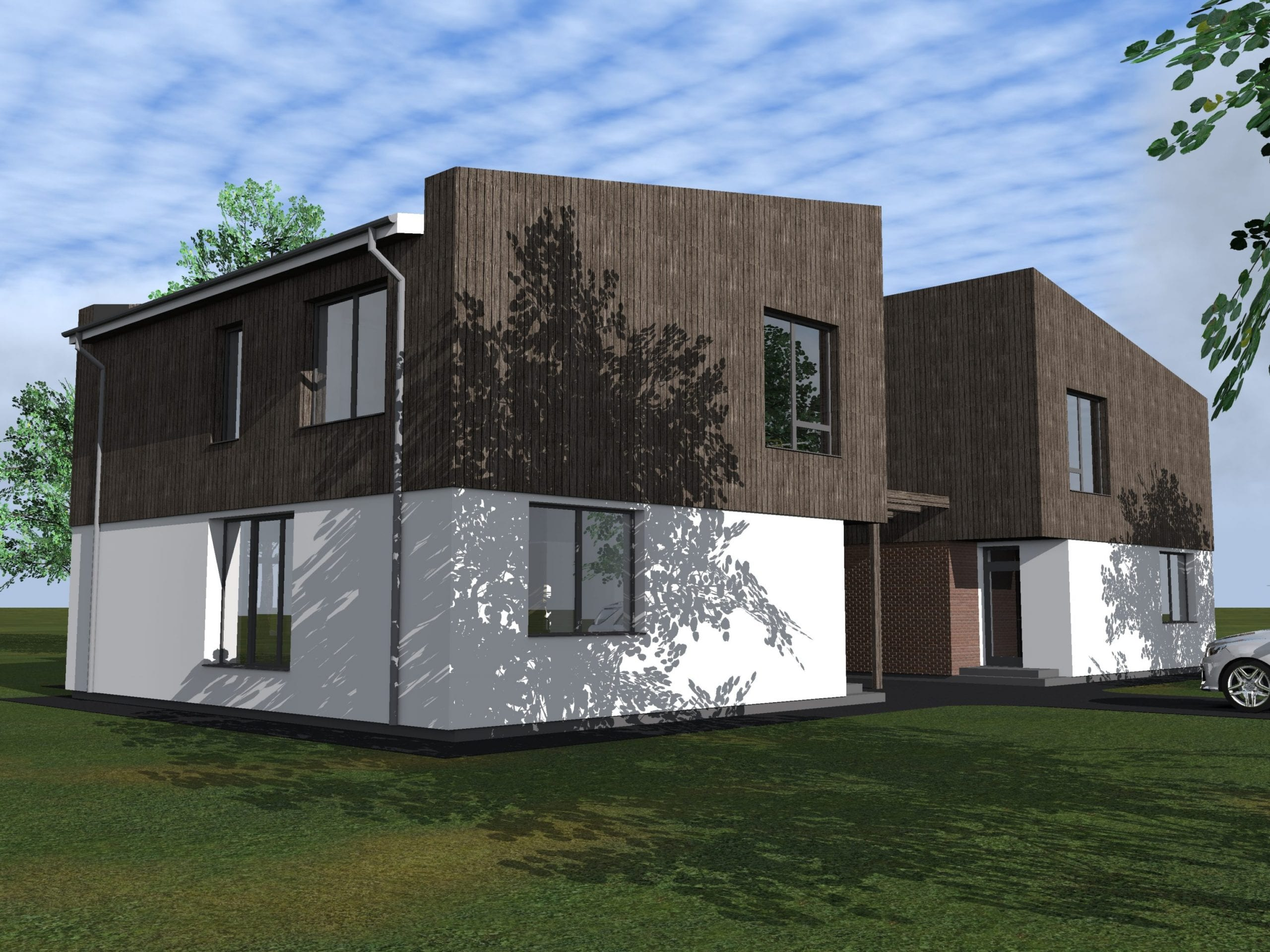 Dvibučio gyvenamojo namo projektas