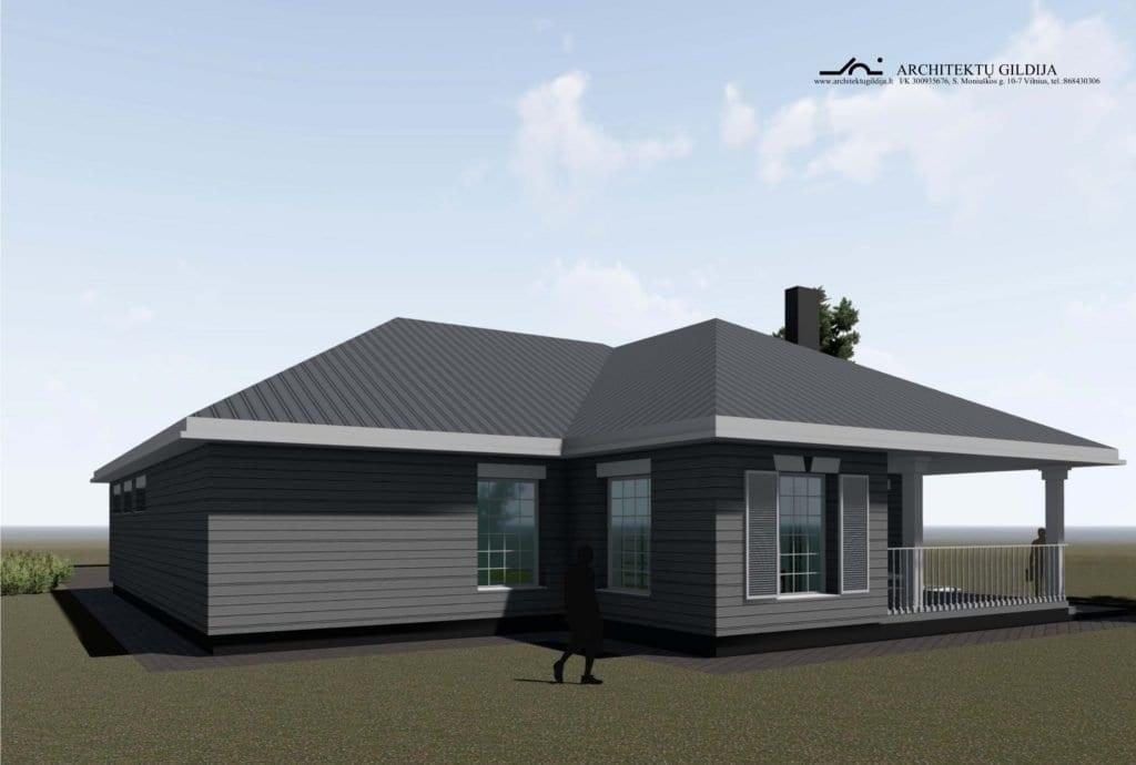 Amerikietiško stiliaus namo projektas. Vizualizacija.