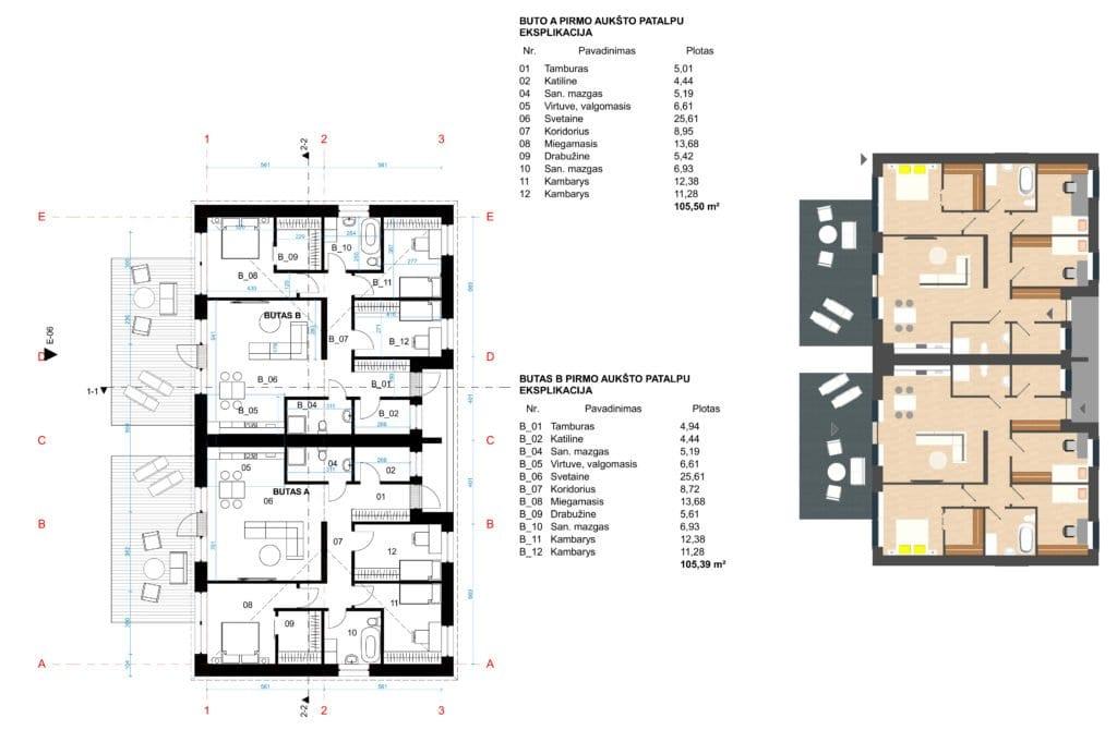 Dvibučio gyvenamojo namo projektas. Aukšto planas.