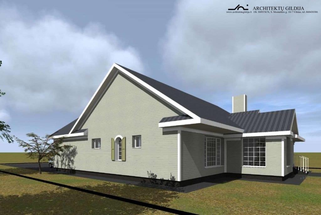 Amerikietiško stiliaus vienbučio gyvenamojo namo projektas.  Vizualizacija.