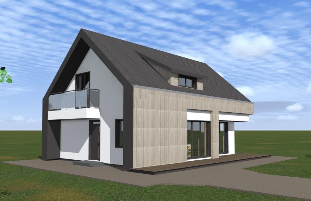 Modernaus vieno aukšto su mansarda namo projektas
