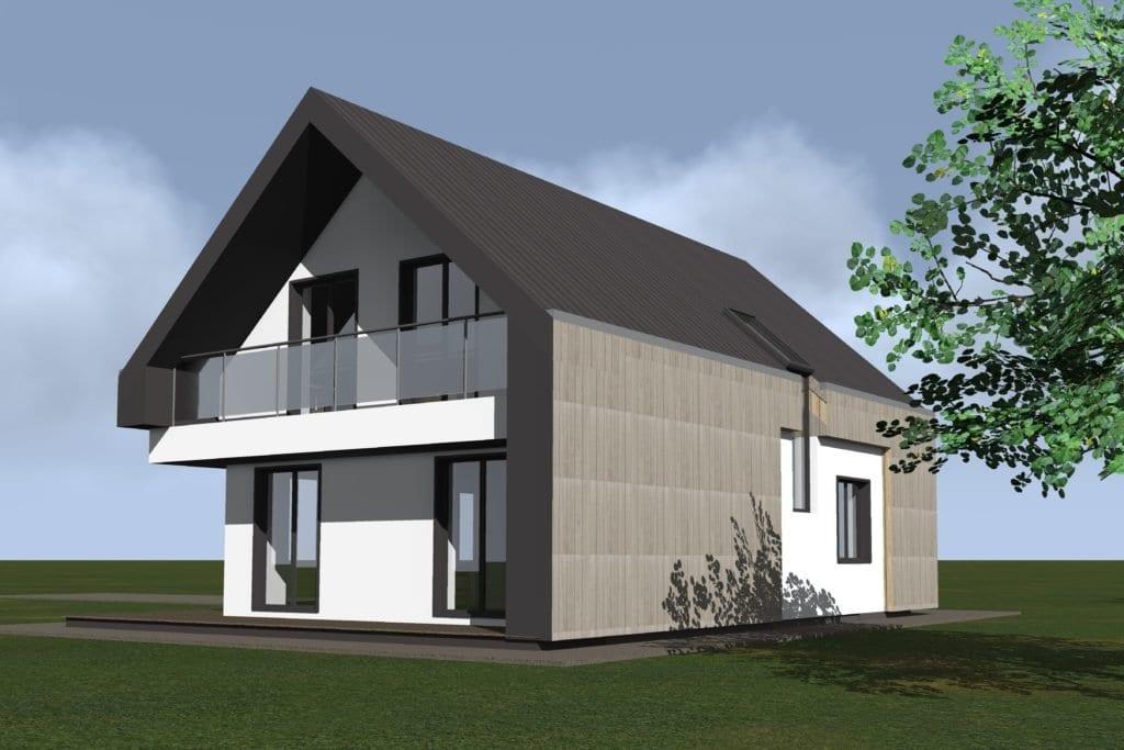 Modernaus vieno aukšto su mansarda namo projektas. Vizualizacija.