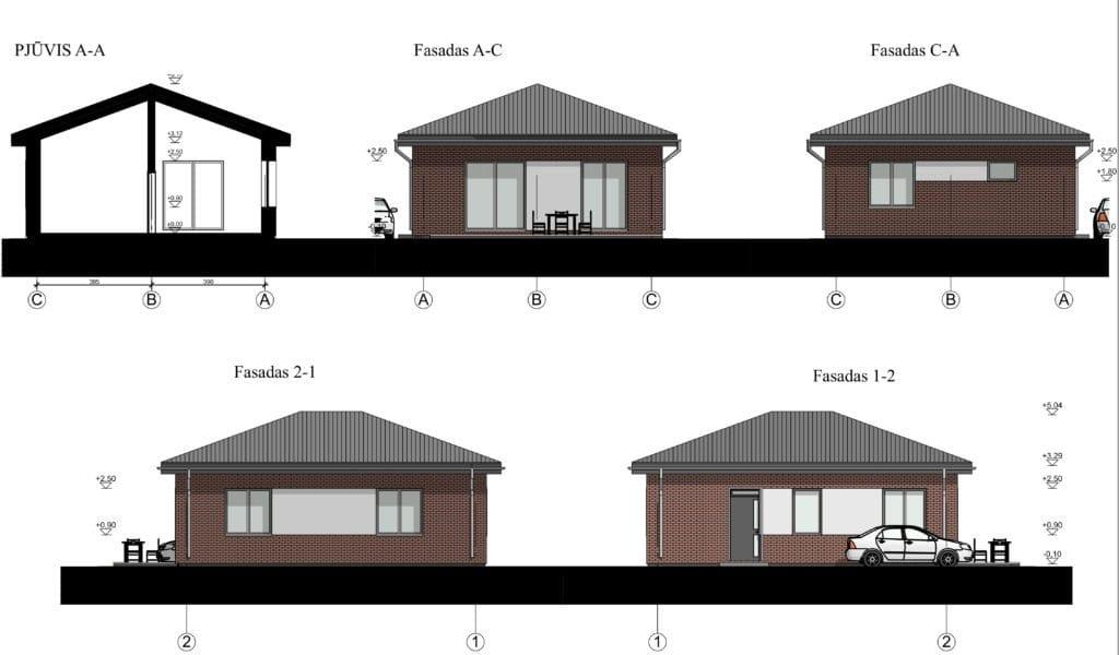 Nesudėtingo gyvenamojo planai, fasadai, pjūviai.