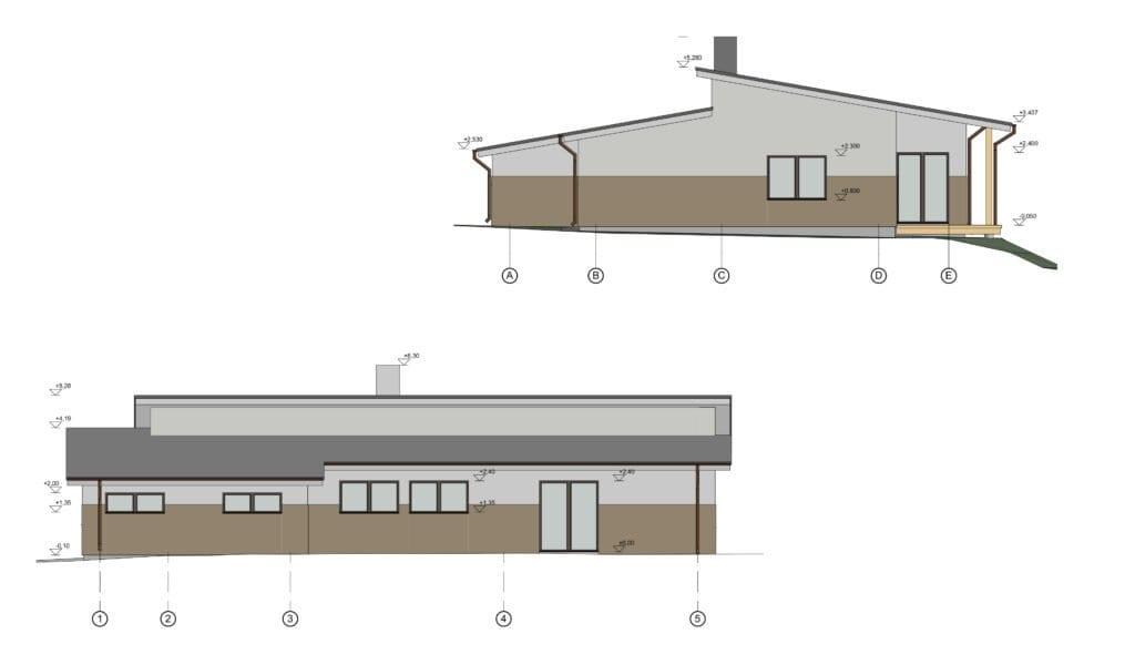 Vieno aukšto vienbučio gyvenamojo fasadai.