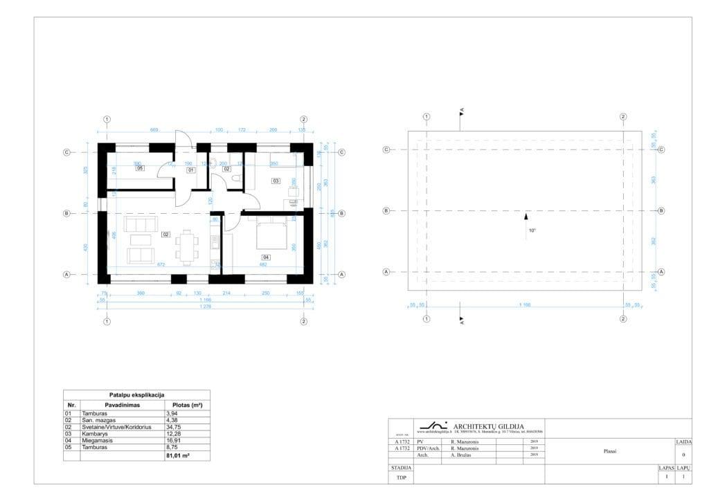 Nedidelio vienbučio namo planas, stogo planas.