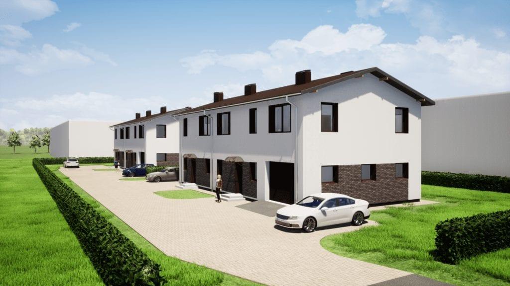 Dviejų dvibučių namų projektai vizualizacija.