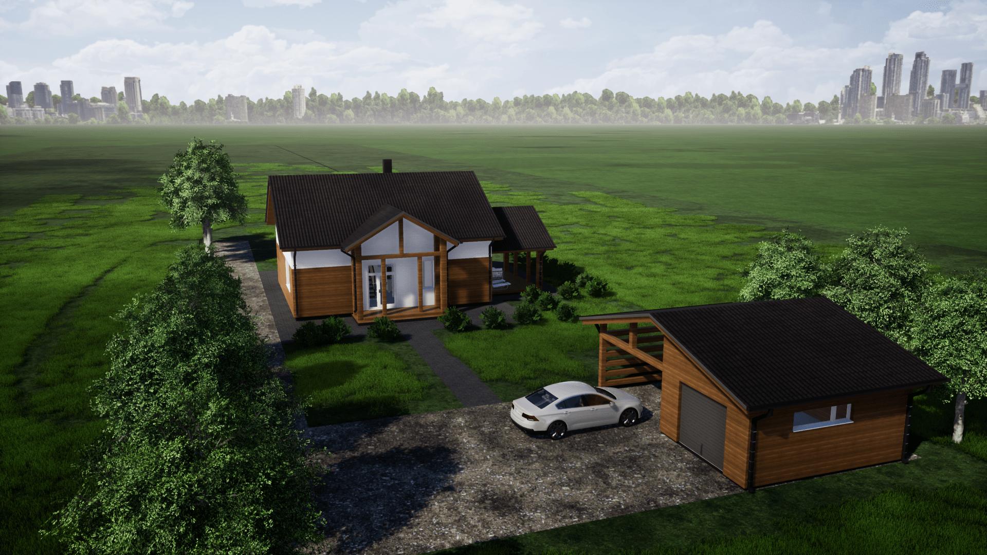 Namo projektas su garažu atskirai