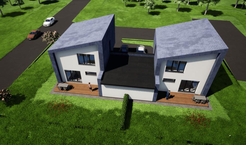 Dvibučio gyvenamojo namo aero - vaizdas.