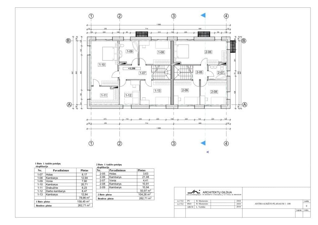 Dviejų aukštų dvibučio namo projektas. IA planas.
