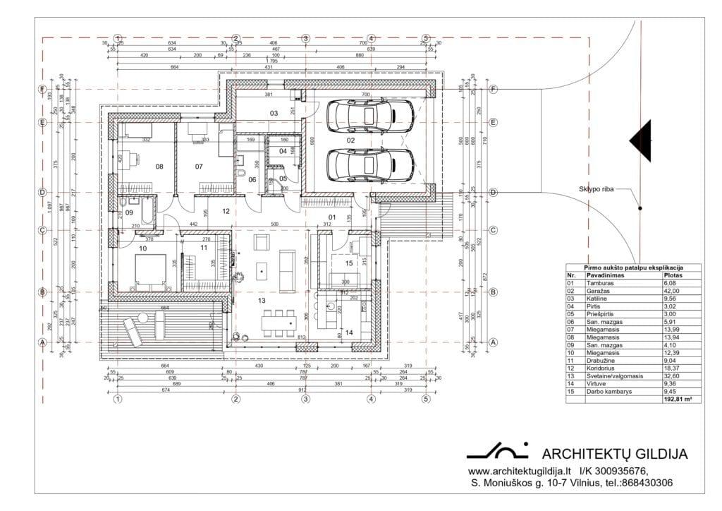 Vienbučio namo projektas. Pirmo aukšto planas.