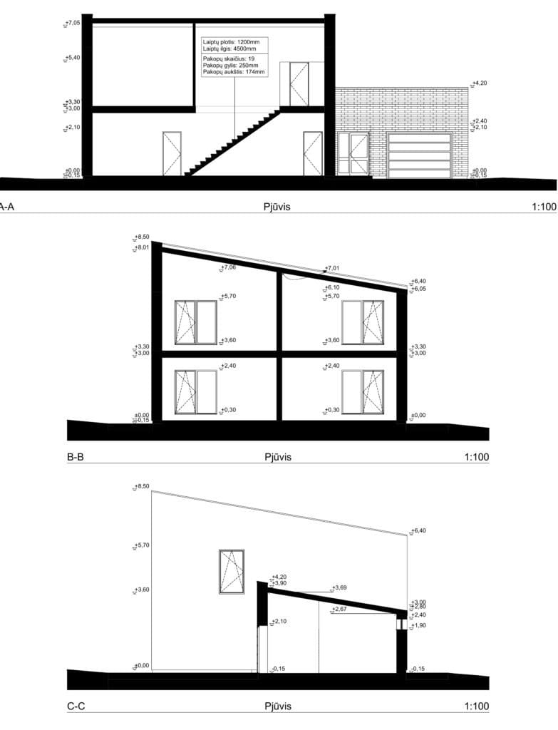Dviejų aukštų gyvenamojo namo projektas su gražu. Pjūviai.