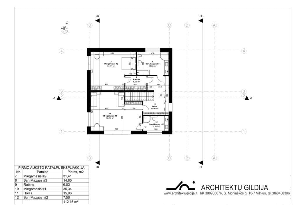 Dviejų aukštų gyvenamojo namo projektas su gražu. Antro aukšto planas.