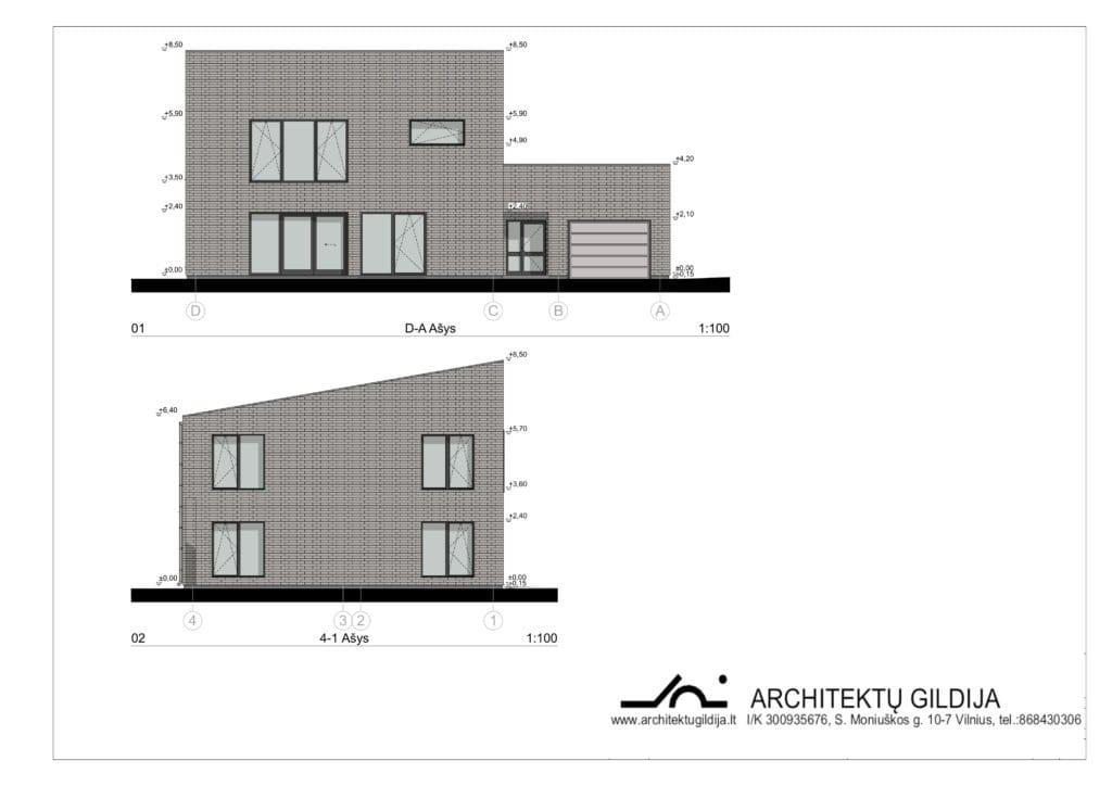 Dviejų aukštų gyvenamojo namo projektas su gražu. Fasadai.