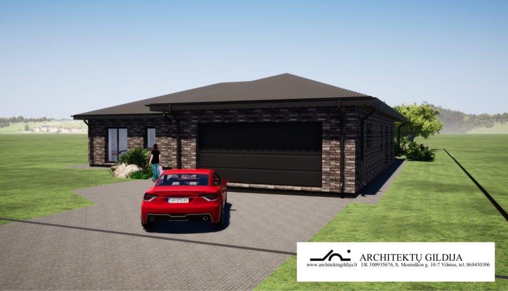 Vieno aukšto 175 m² namo projektas ID 056. 175 m², 3 miegamieji.