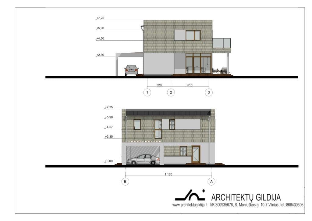 Dviejų aukštų gyvenamojo namo projektas. Bendras plotas 153 m²; 4 miegamieji; 12m x 9m; be graražo. ID 054