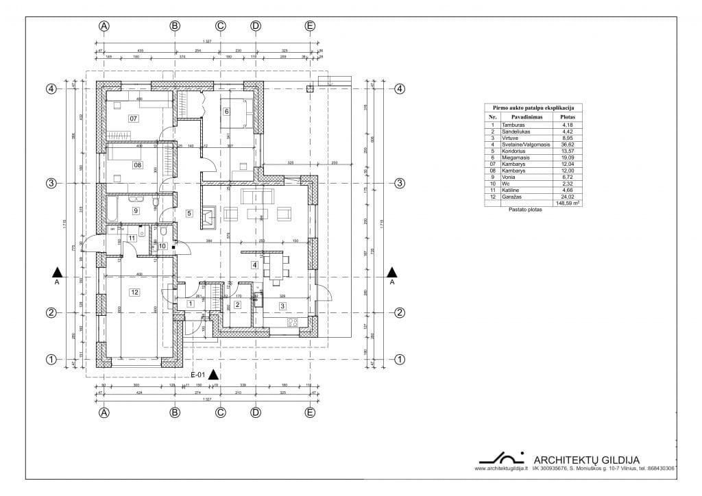 Vienbučio vieno aukšto dvišlaičio namo projektas. Planai
